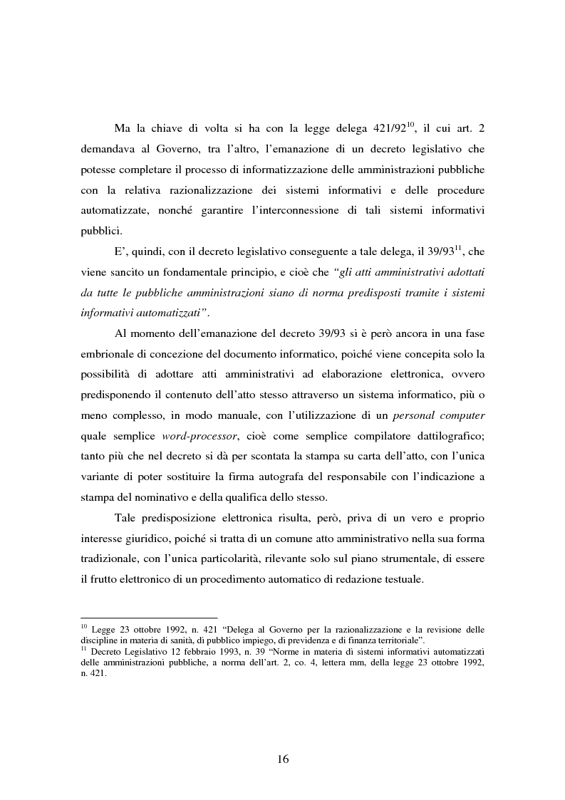 Anteprima della tesi: L'informatizzazione della Pubblica Amministrazione. Aspetti giuridici delle innovazioni tecnologiche nell'azione amministrativa, Pagina 13