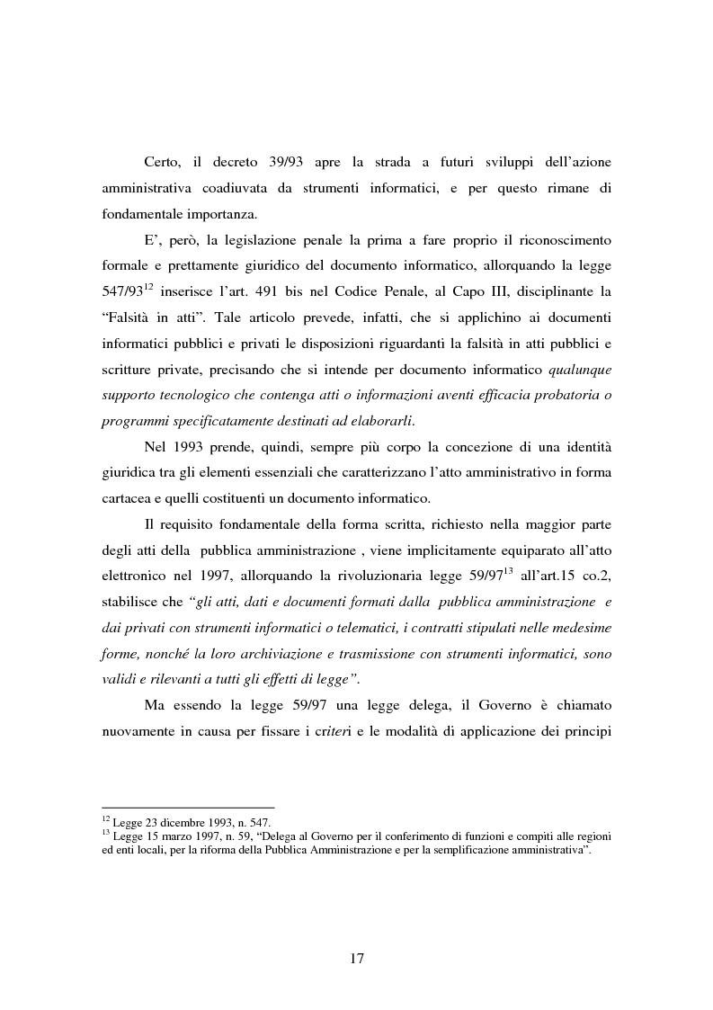Anteprima della tesi: L'informatizzazione della Pubblica Amministrazione. Aspetti giuridici delle innovazioni tecnologiche nell'azione amministrativa, Pagina 14