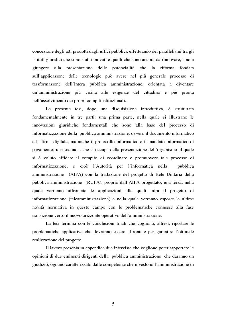 Anteprima della tesi: L'informatizzazione della Pubblica Amministrazione. Aspetti giuridici delle innovazioni tecnologiche nell'azione amministrativa, Pagina 2