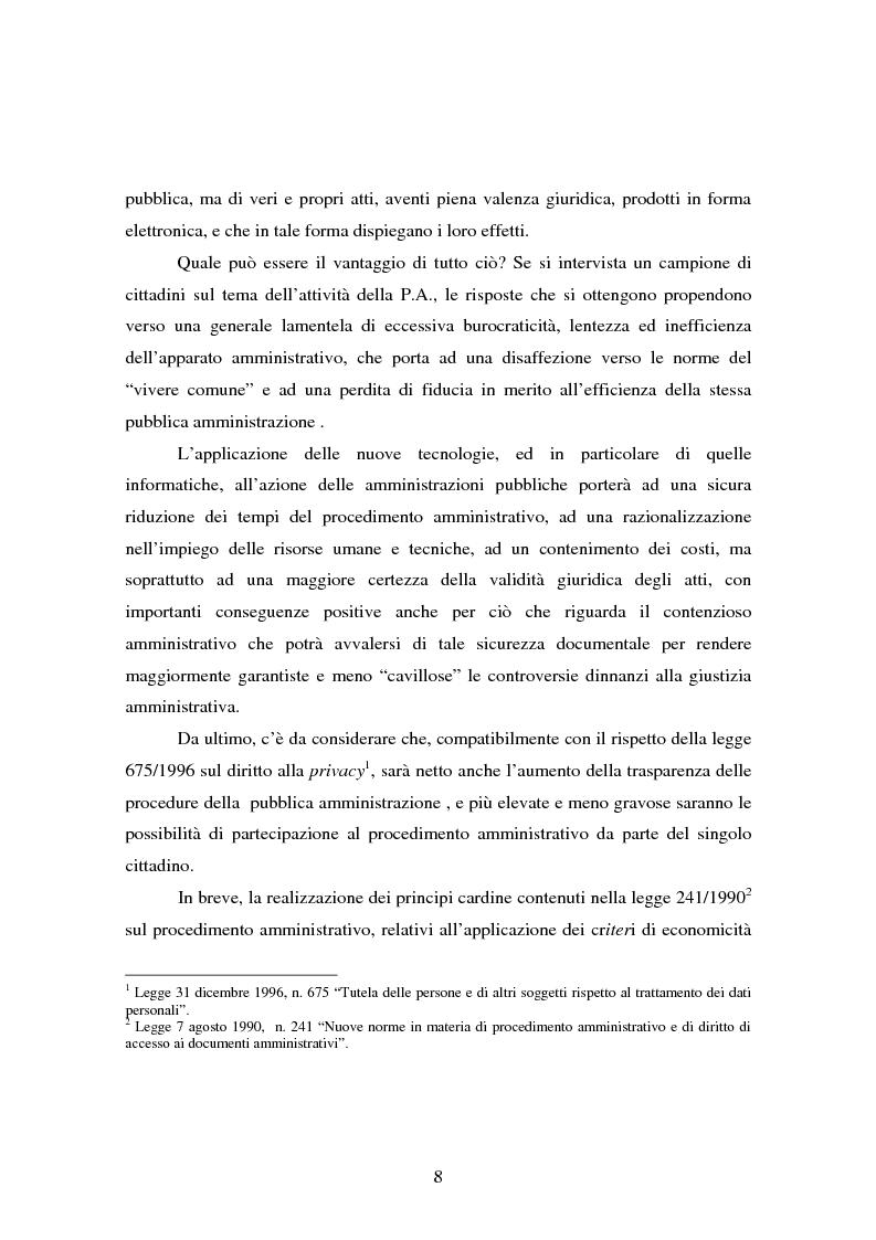 Anteprima della tesi: L'informatizzazione della Pubblica Amministrazione. Aspetti giuridici delle innovazioni tecnologiche nell'azione amministrativa, Pagina 5