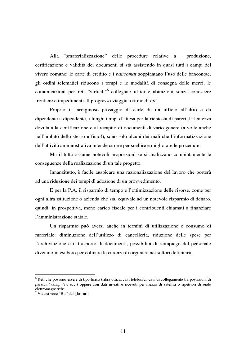 Anteprima della tesi: L'informatizzazione della Pubblica Amministrazione. Aspetti giuridici delle innovazioni tecnologiche nell'azione amministrativa, Pagina 8