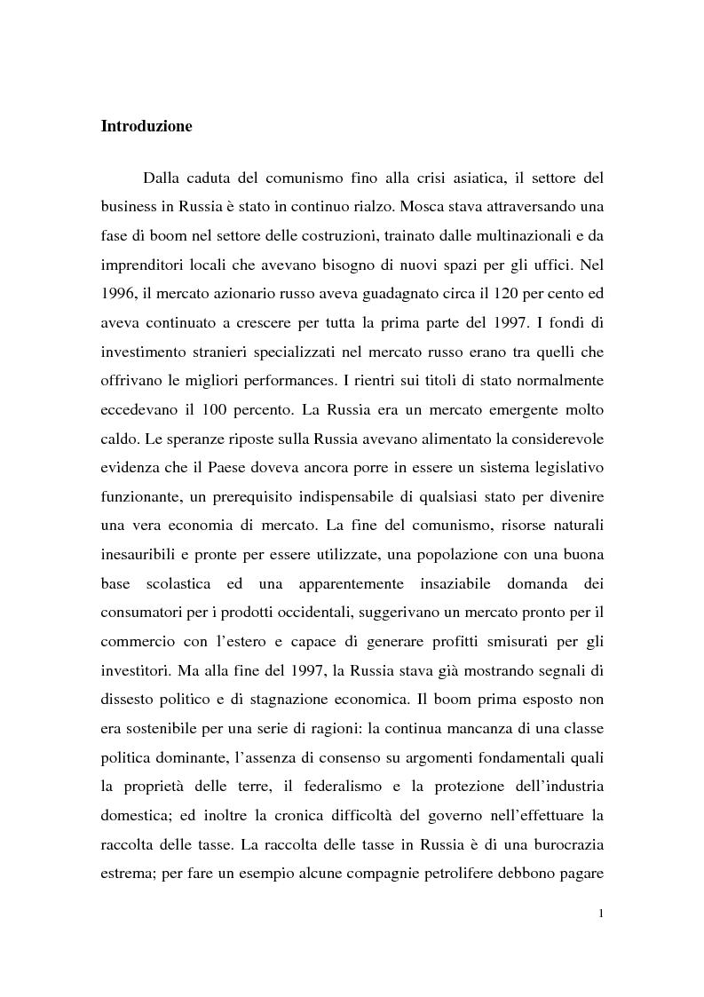 Anteprima della tesi: La crisi finanziaria russa e l'impatto sul sistema bancario internazionale, Pagina 1