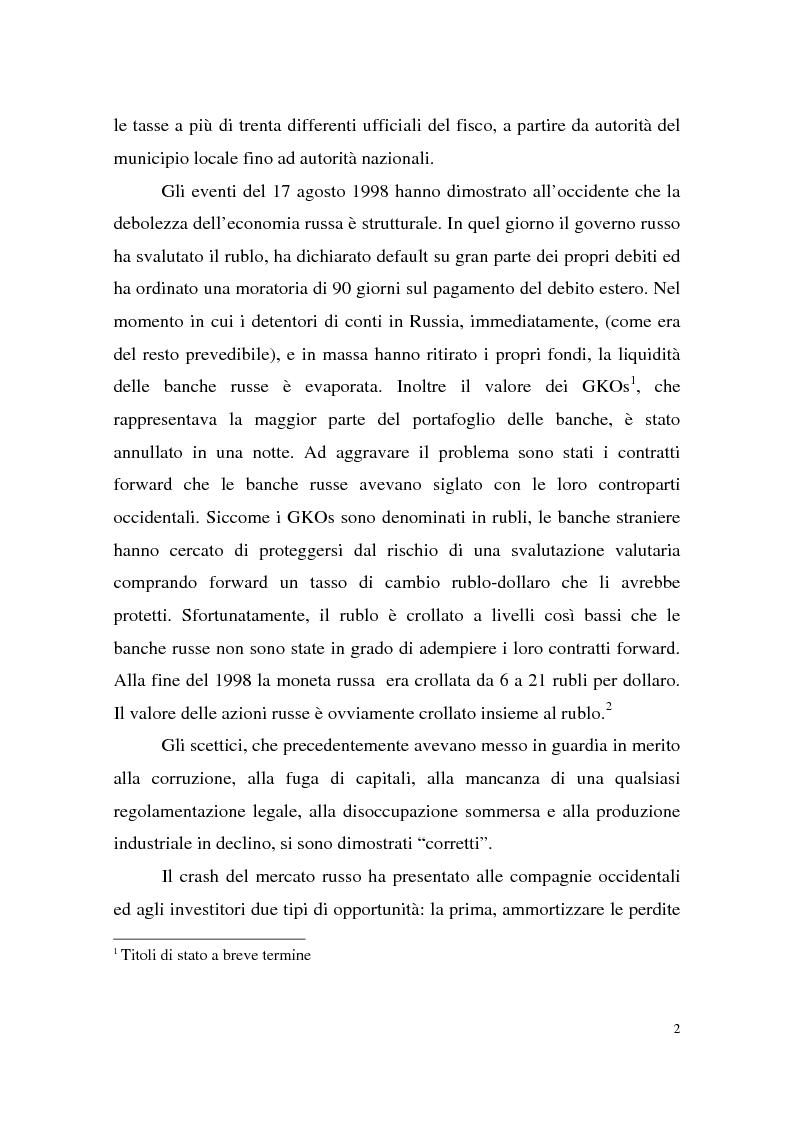 Anteprima della tesi: La crisi finanziaria russa e l'impatto sul sistema bancario internazionale, Pagina 2