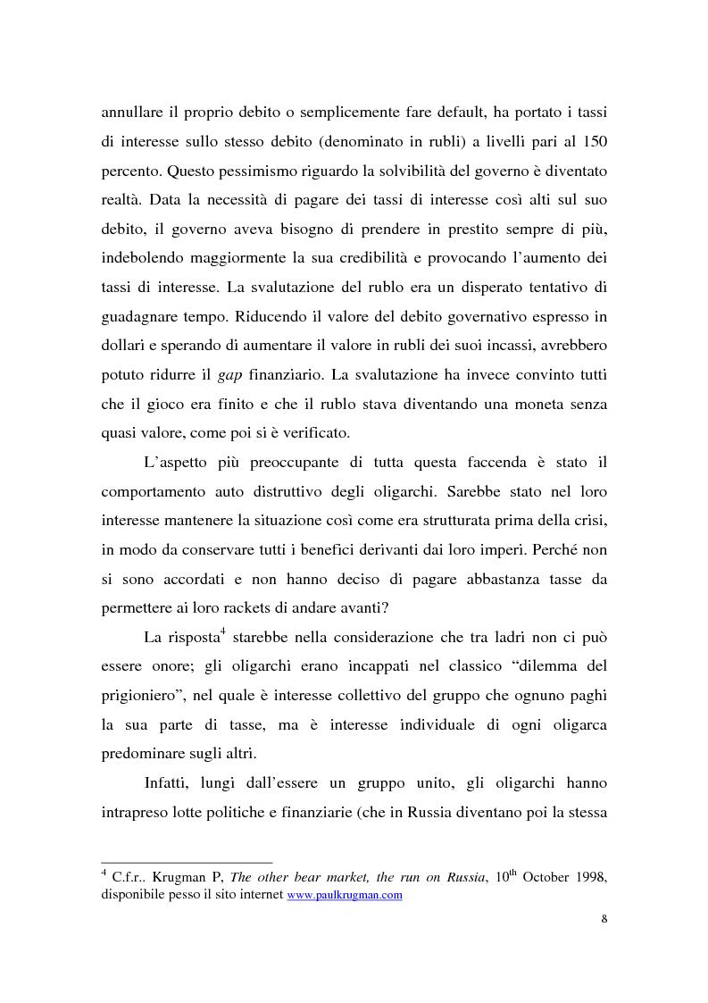 Anteprima della tesi: La crisi finanziaria russa e l'impatto sul sistema bancario internazionale, Pagina 8