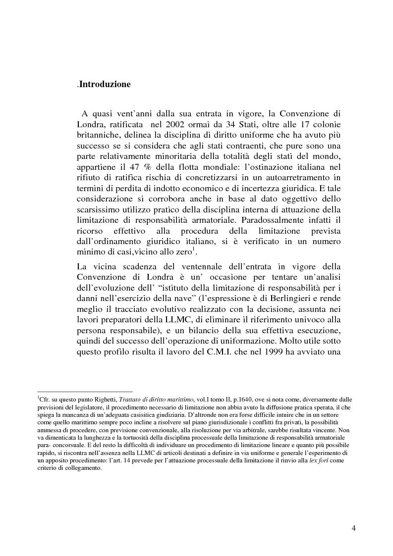 Anteprima della tesi: La limitazione di responsabilità per i crediti marittimi, Pagina 1