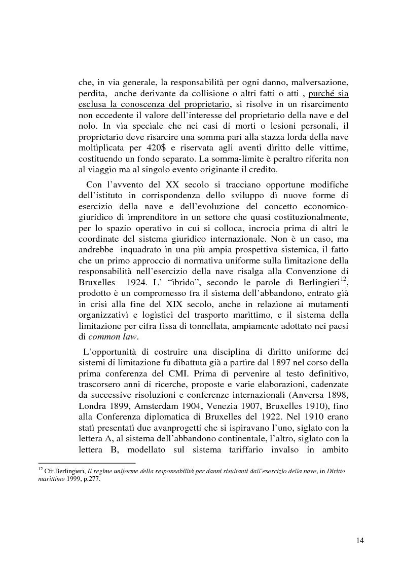 Anteprima della tesi: La limitazione di responsabilità per i crediti marittimi, Pagina 11
