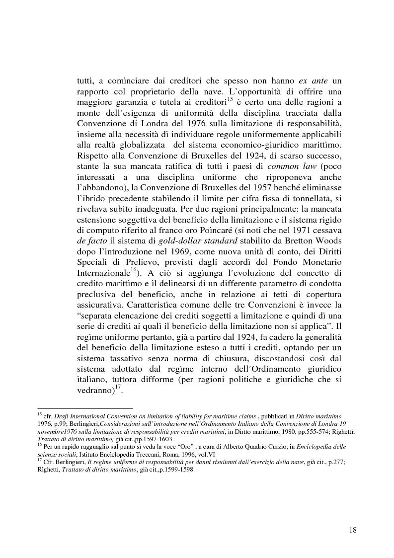 Anteprima della tesi: La limitazione di responsabilità per i crediti marittimi, Pagina 15