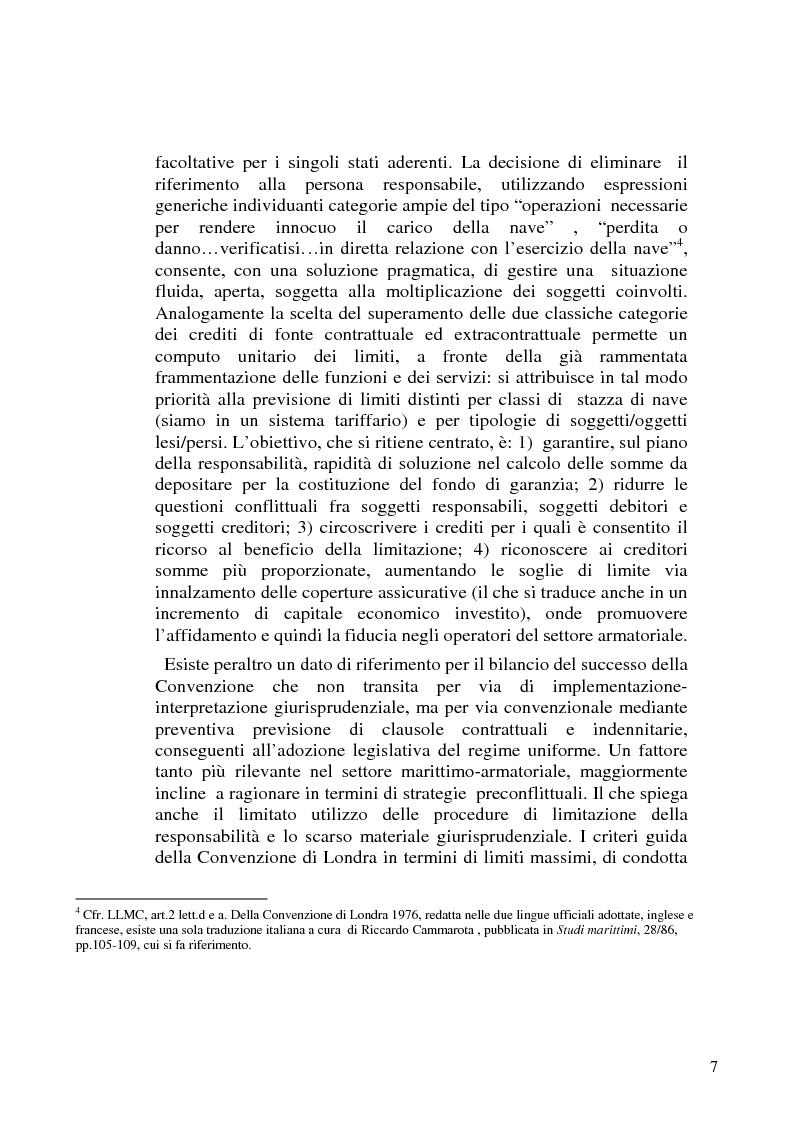 Anteprima della tesi: La limitazione di responsabilità per i crediti marittimi, Pagina 4