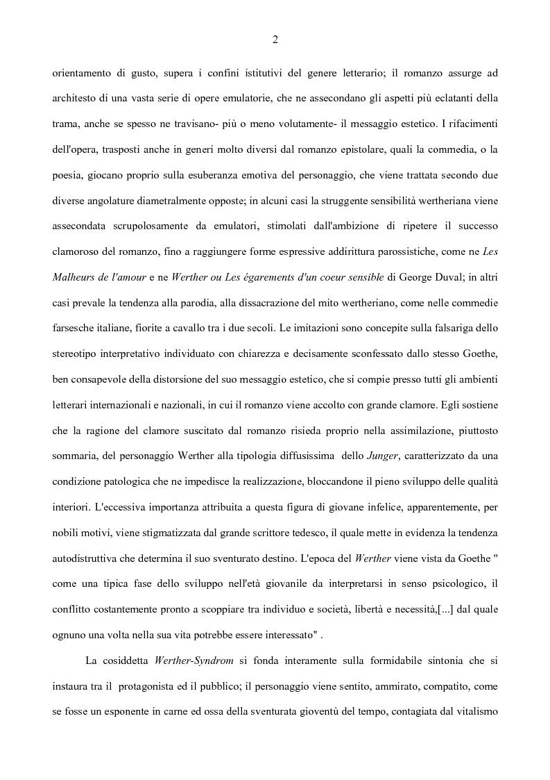 Anteprima della tesi: Il nodo intertestuale 'Werther'-'Ortis', Pagina 2
