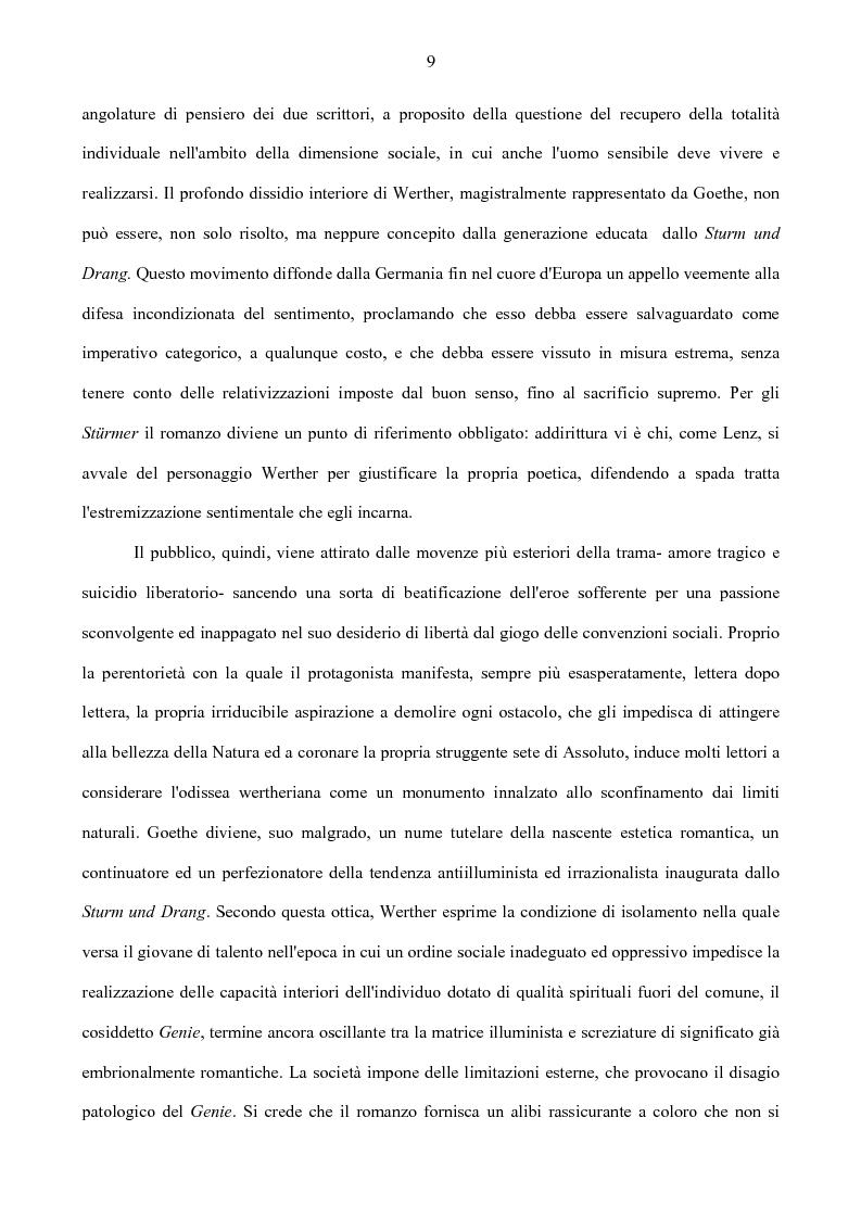 Anteprima della tesi: Il nodo intertestuale 'Werther'-'Ortis', Pagina 9