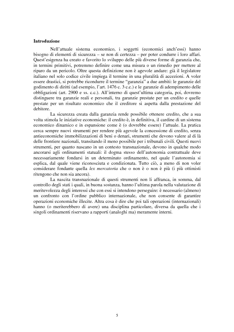Anteprima della tesi: Le garanzie personali nel diritto civile italiano e nel diritto del commercio internazionale, Pagina 1
