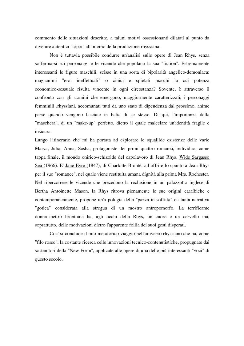 """Anteprima della tesi: L'importanza della ''New Form"""" nella narrativa di Jean Rhys, Pagina 3"""