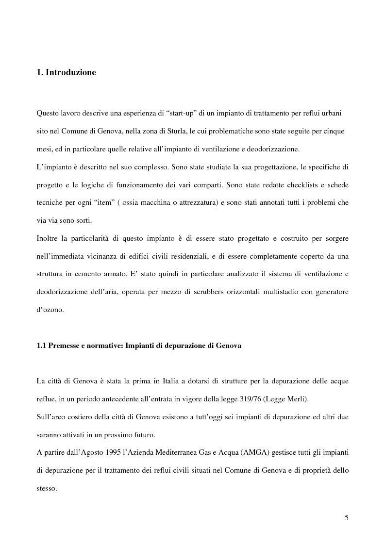 Anteprima della tesi: La deodorizzazione dell'aria in impianti di trattamento dei reflui urbani: il caso del nuovo impianto di Sturla a Genova, Pagina 1