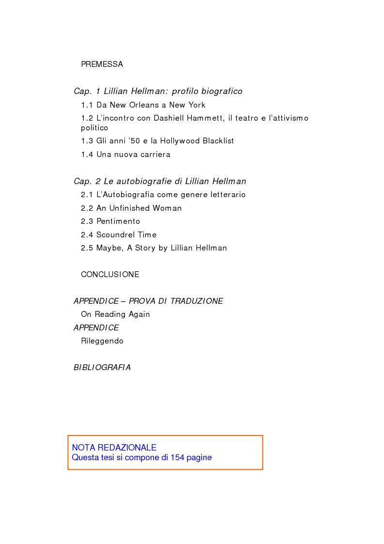 Indice della tesi: Le autobiografie di Lillian Hellman, Pagina 1