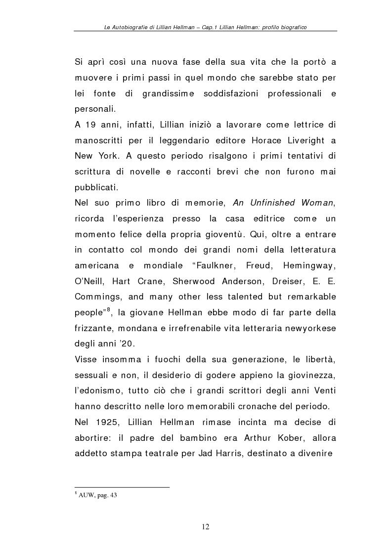 Anteprima della tesi: Le autobiografie di Lillian Hellman, Pagina 11