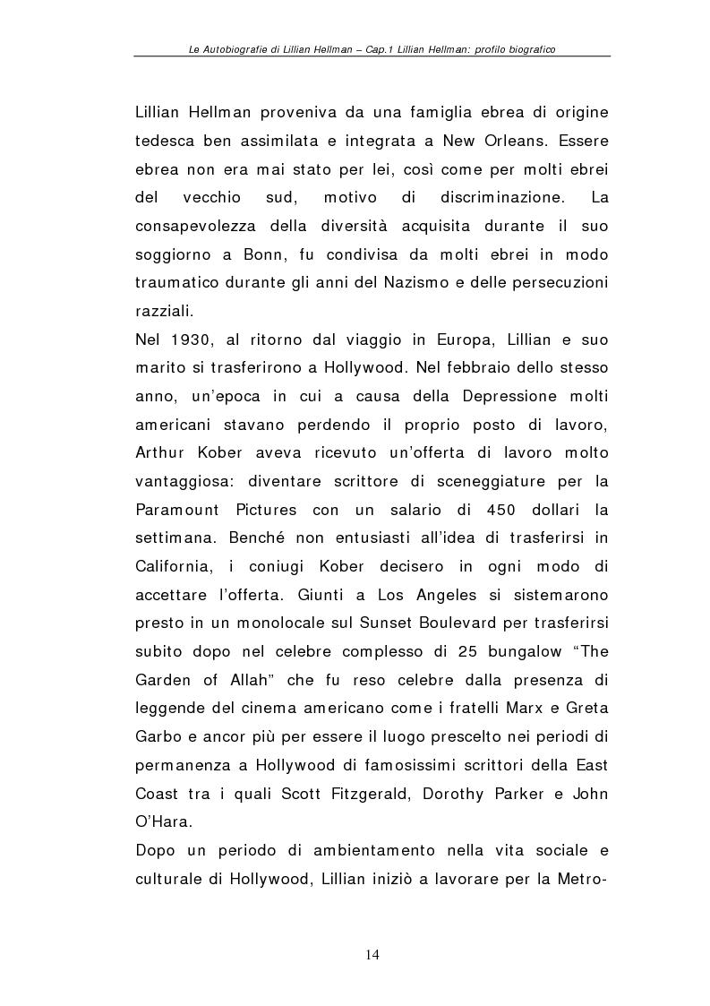 Anteprima della tesi: Le autobiografie di Lillian Hellman, Pagina 13