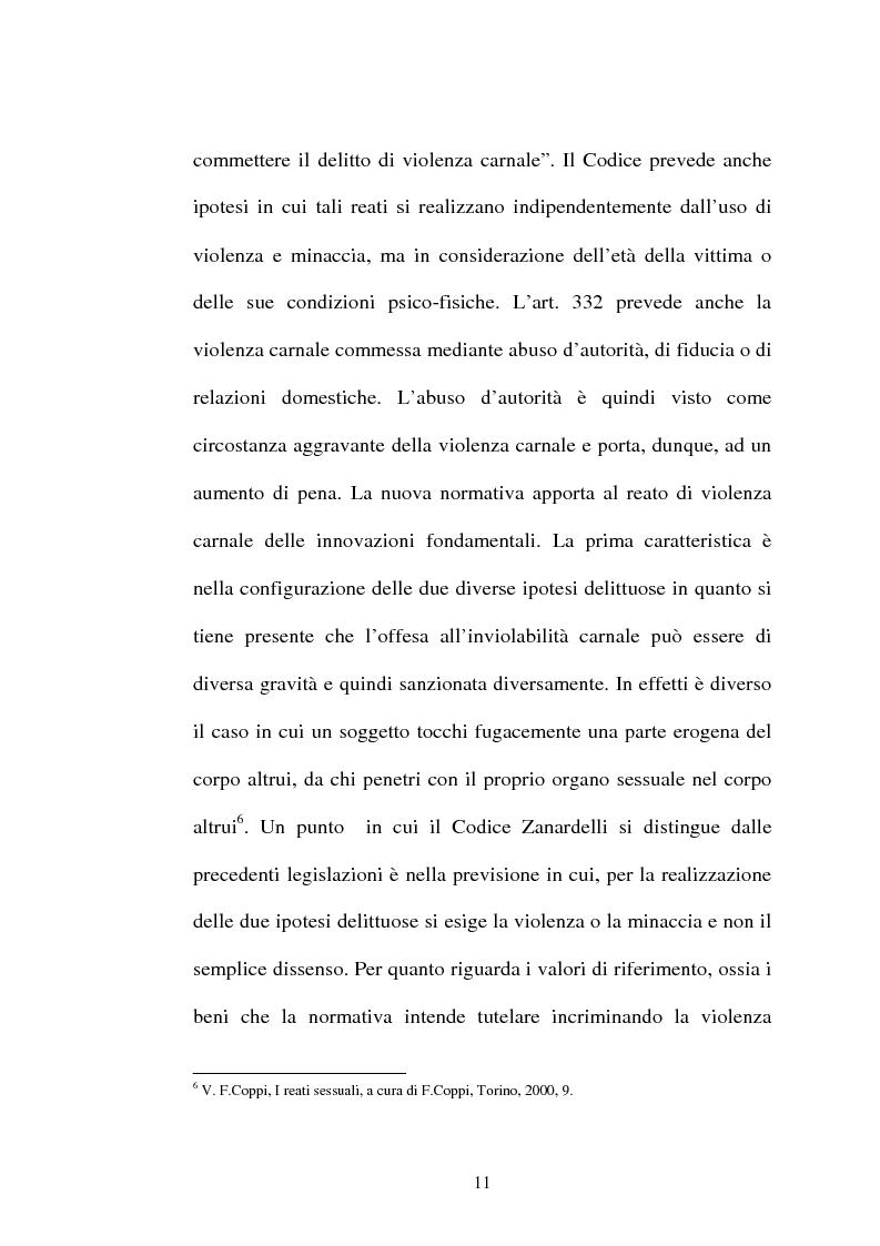 Anteprima della tesi: L'art. 609/bis c.p.: la violenza sessuale, Pagina 11