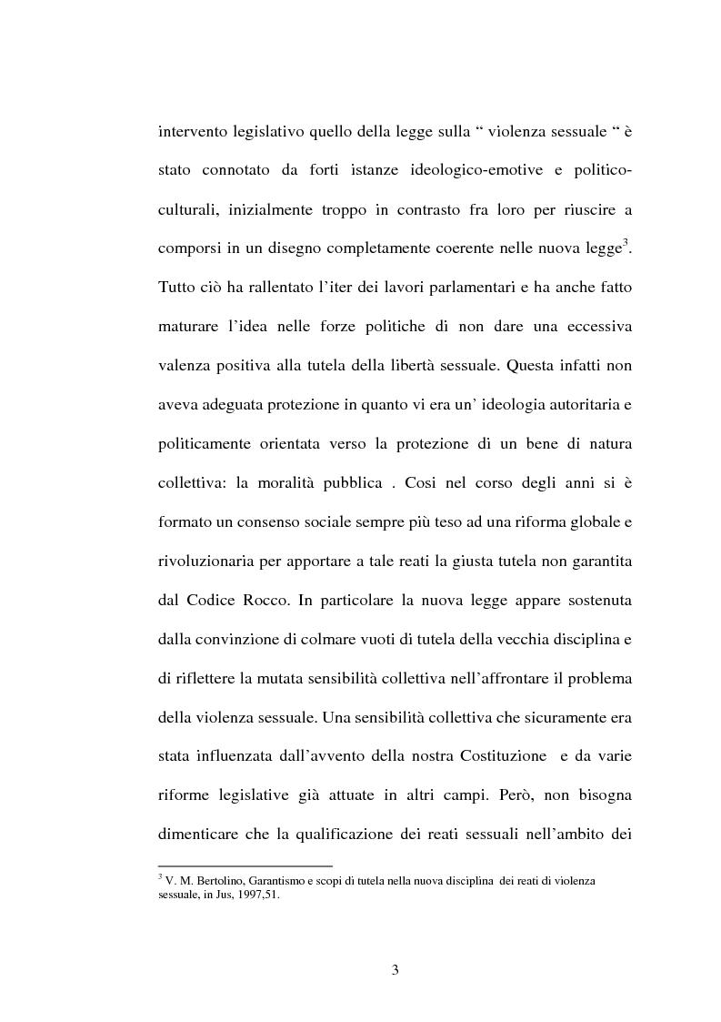 Anteprima della tesi: L'art. 609/bis c.p.: la violenza sessuale, Pagina 3