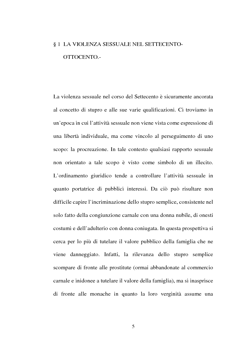 Anteprima della tesi: L'art. 609/bis c.p.: la violenza sessuale, Pagina 5