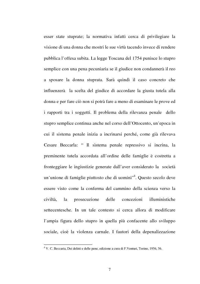 Anteprima della tesi: L'art. 609/bis c.p.: la violenza sessuale, Pagina 7