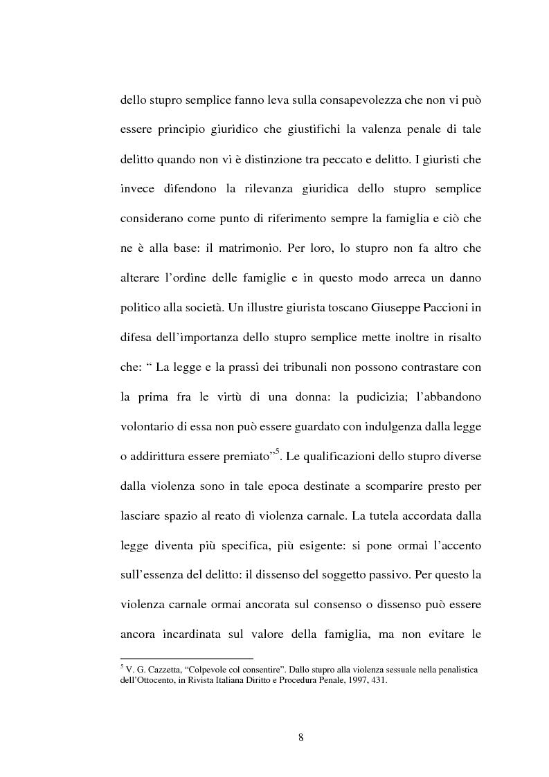 Anteprima della tesi: L'art. 609/bis c.p.: la violenza sessuale, Pagina 8