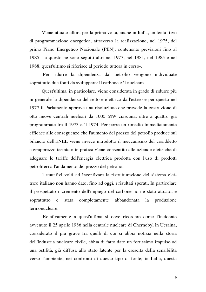 Anteprima della tesi: La liberalizzazione del settore elettrico: analisi e prospettive concorrenziali, Pagina 12