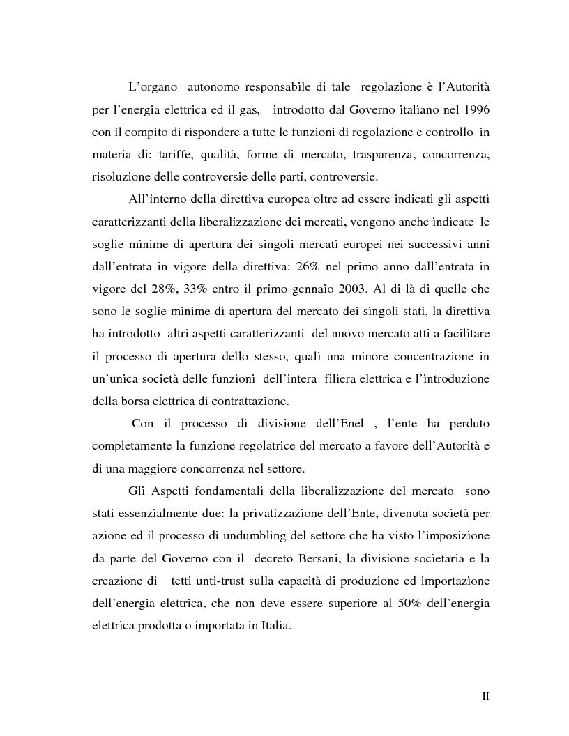 Anteprima della tesi: La liberalizzazione del settore elettrico: analisi e prospettive concorrenziali, Pagina 2