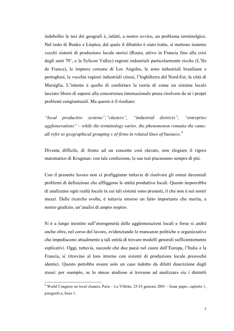 Anteprima della tesi: I distretti industriali: un confronto tra l'esperienza italiana e quella francese, Pagina 4