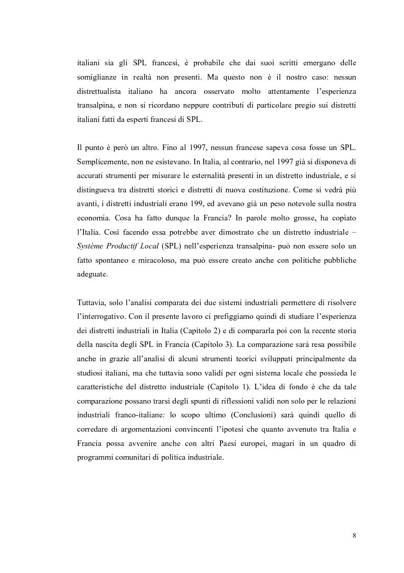 Anteprima della tesi: I distretti industriali: un confronto tra l'esperienza italiana e quella francese, Pagina 5