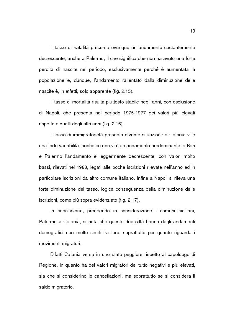 Anteprima della tesi: Analisi socioeconomica e demografica dei 4 grandi comuni del Mezzogiorno, Pagina 13