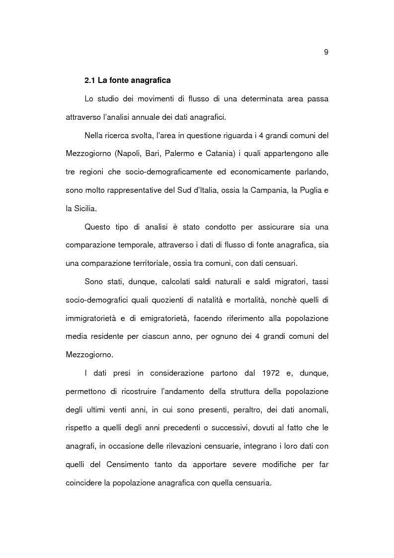 Anteprima della tesi: Analisi socioeconomica e demografica dei 4 grandi comuni del Mezzogiorno, Pagina 9