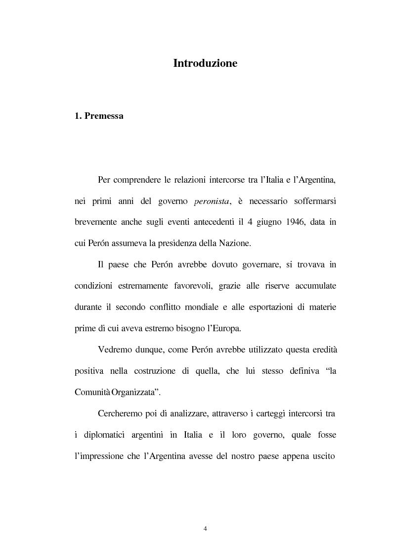Anteprima della tesi: Le relazioni tra l'Italia e l'Argentina durante i primi anni del governo Peron, 1945-1949, Pagina 1