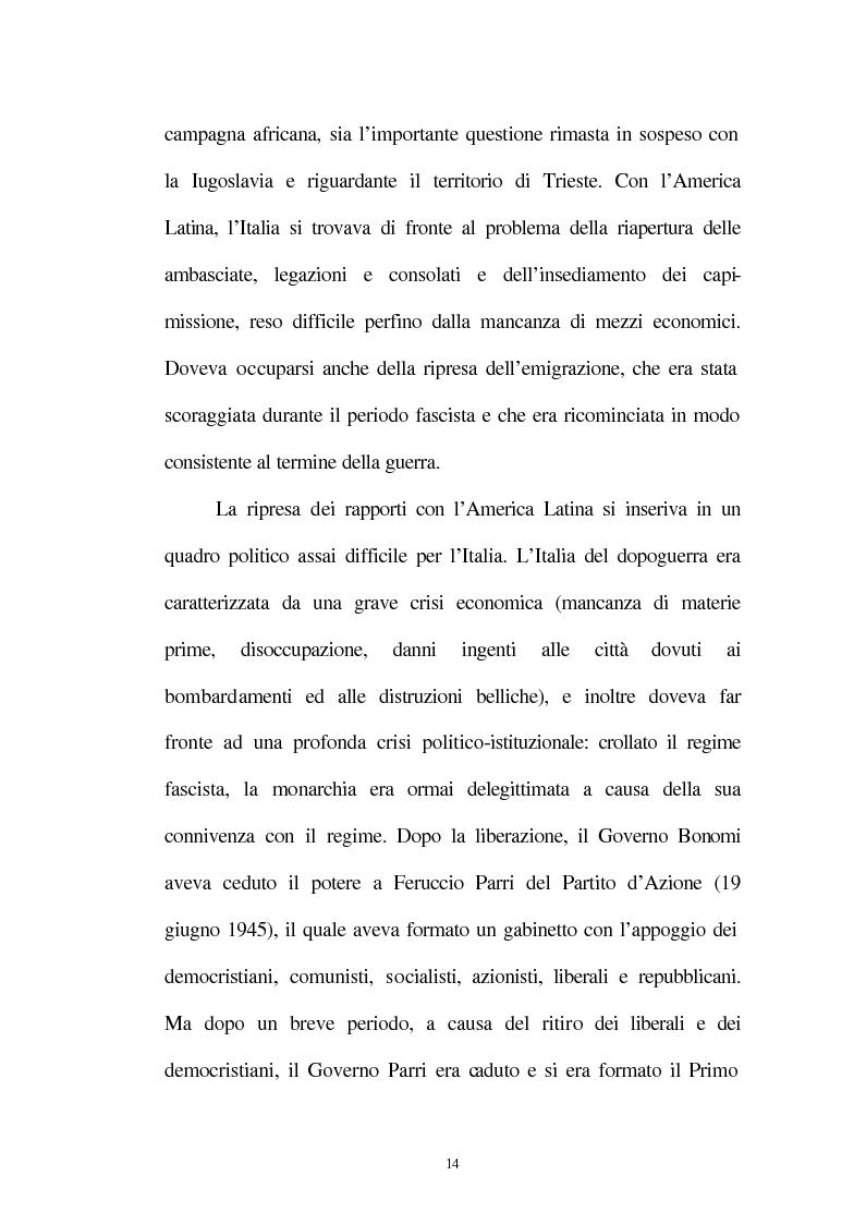 Anteprima della tesi: Le relazioni tra l'Italia e l'Argentina durante i primi anni del governo Peron, 1945-1949, Pagina 11