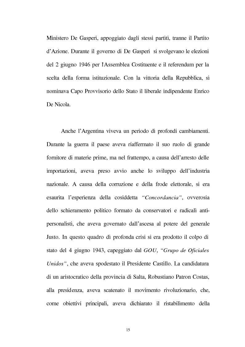 Anteprima della tesi: Le relazioni tra l'Italia e l'Argentina durante i primi anni del governo Peron, 1945-1949, Pagina 12