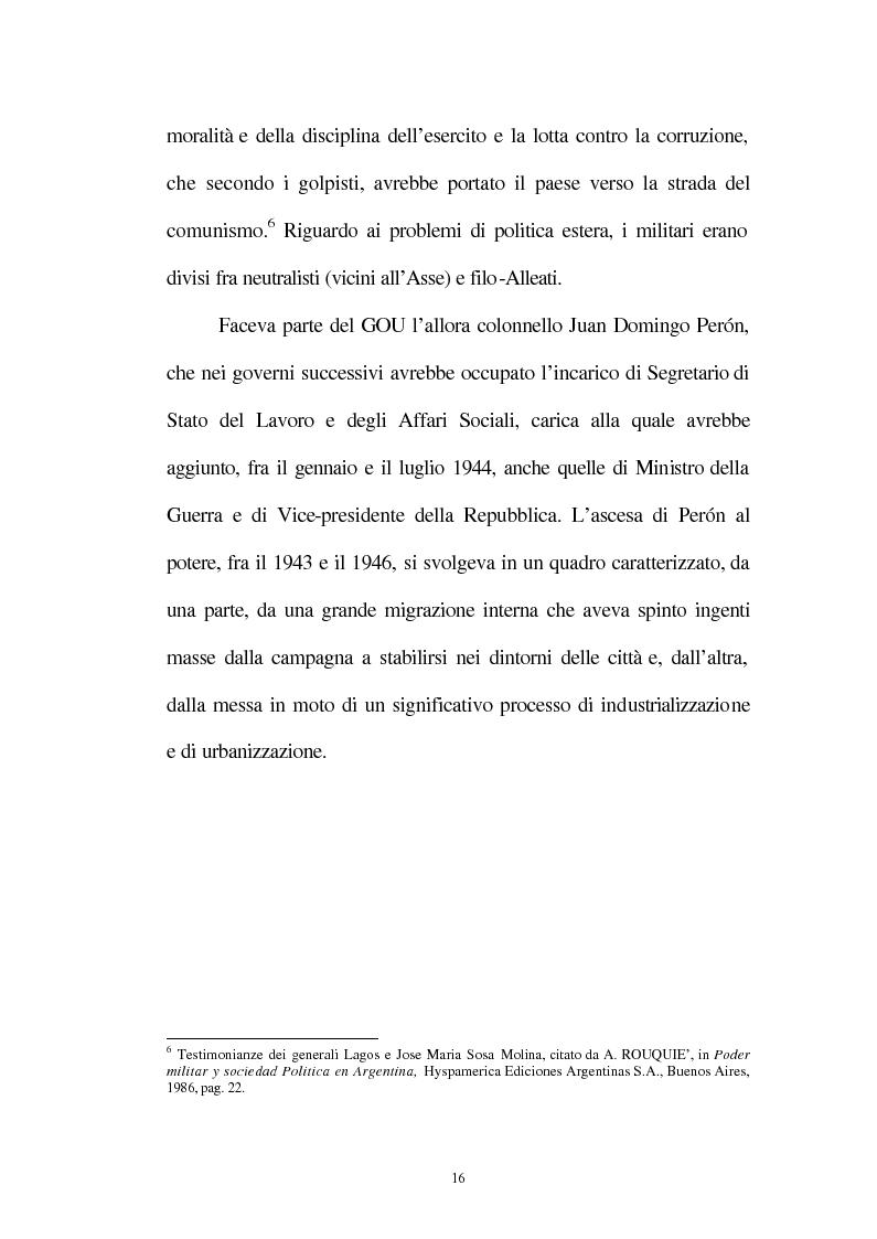 Anteprima della tesi: Le relazioni tra l'Italia e l'Argentina durante i primi anni del governo Peron, 1945-1949, Pagina 13