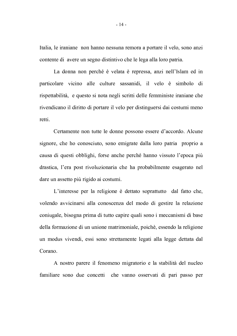 Anteprima della tesi: La coppia iraniana in Italia. La relazione di coppia, tra tradizione e migrazione., Pagina 14