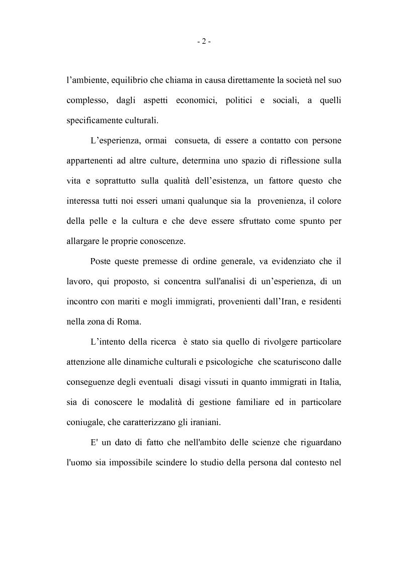 Anteprima della tesi: La coppia iraniana in Italia. La relazione di coppia, tra tradizione e migrazione., Pagina 2