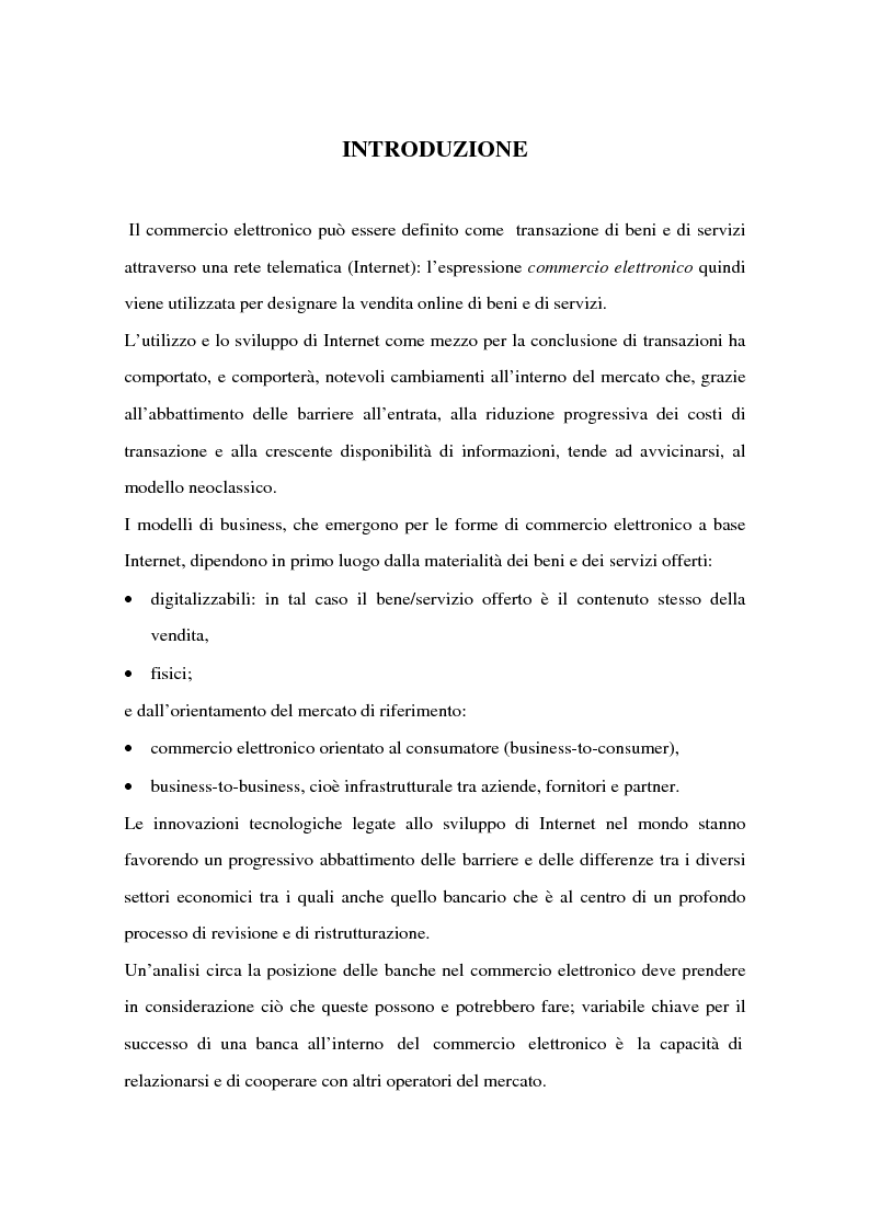 Anteprima della tesi: Il ruolo delle banche nel commercio elettronico, Pagina 1