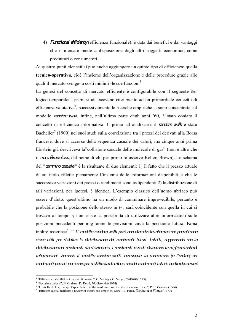Anteprima della tesi: L'efficienza del mercato mobiliare: studi empirici sul nuovo mercato italiano, Pagina 2