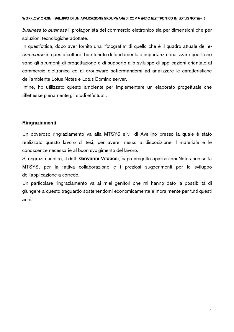 Anteprima della tesi: Workflow ordini: un'applicazione groupware di commercio elettronico con Lotus Notes 4.6, Pagina 2