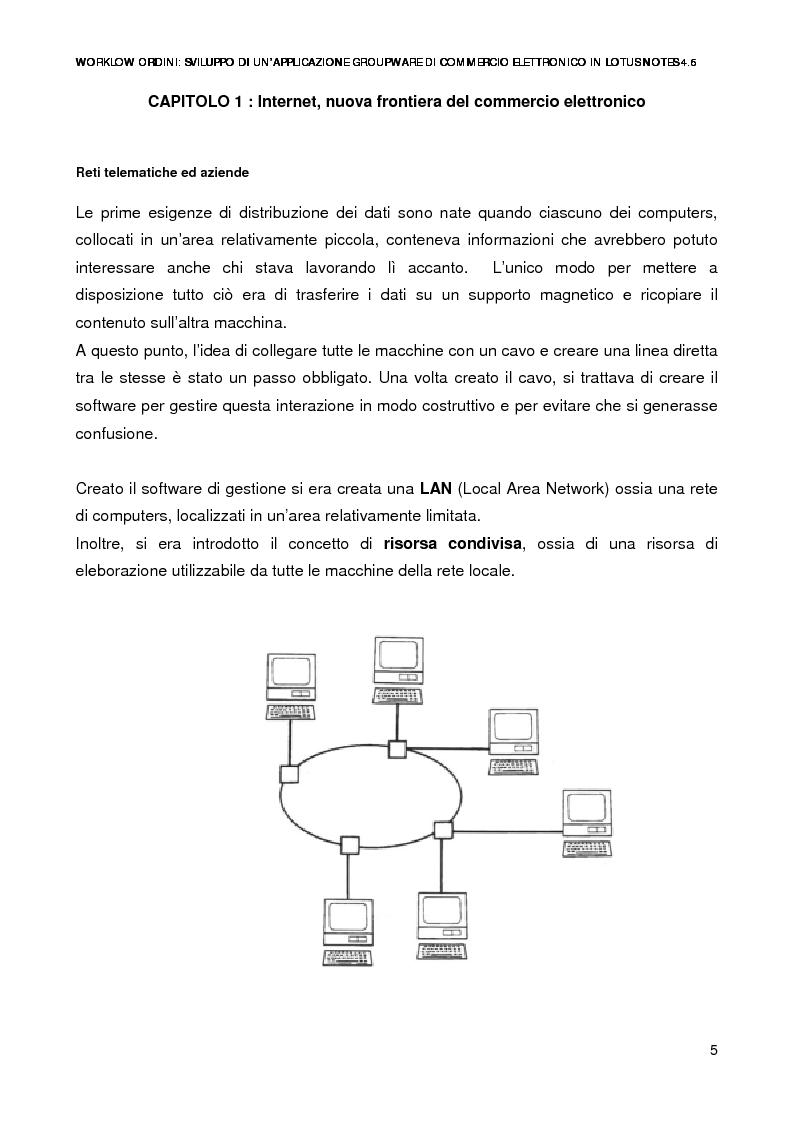 Anteprima della tesi: Workflow ordini: un'applicazione groupware di commercio elettronico con Lotus Notes 4.6, Pagina 3