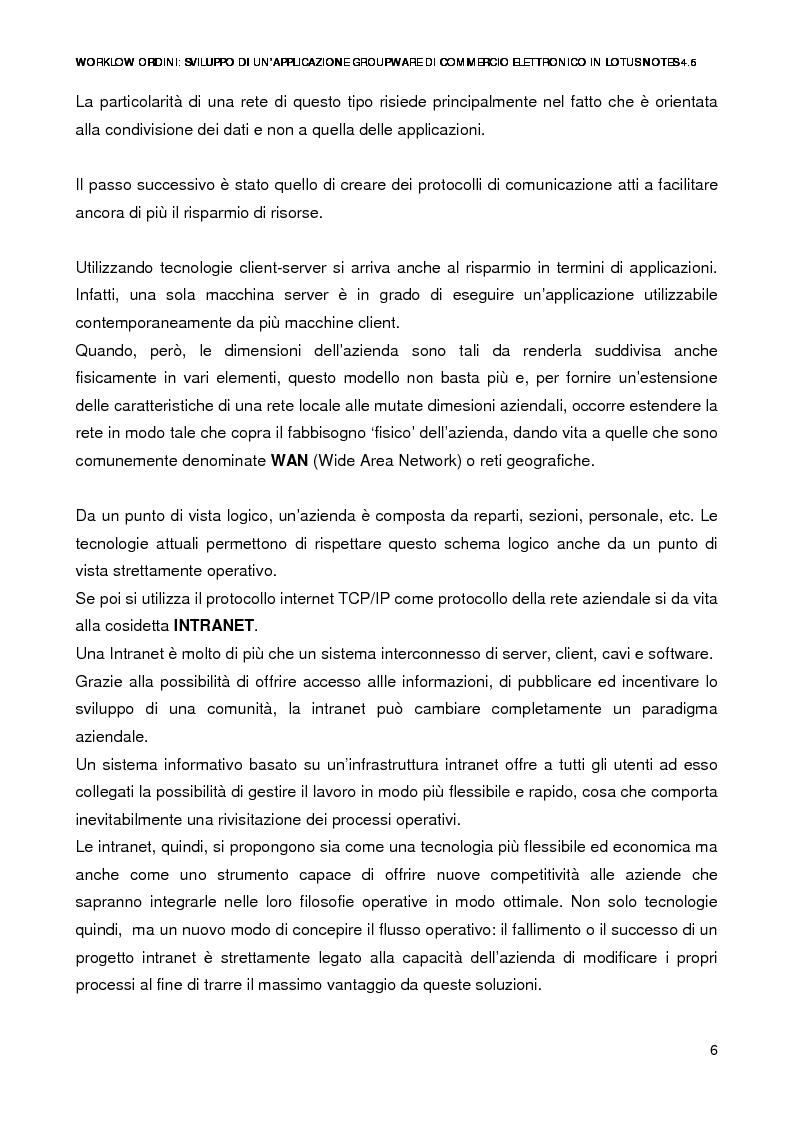 Anteprima della tesi: Workflow ordini: un'applicazione groupware di commercio elettronico con Lotus Notes 4.6, Pagina 4