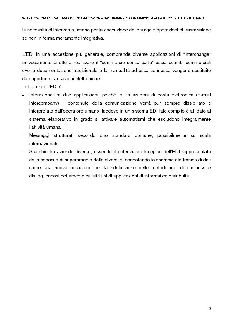 Anteprima della tesi: Workflow ordini: un'applicazione groupware di commercio elettronico con Lotus Notes 4.6, Pagina 7