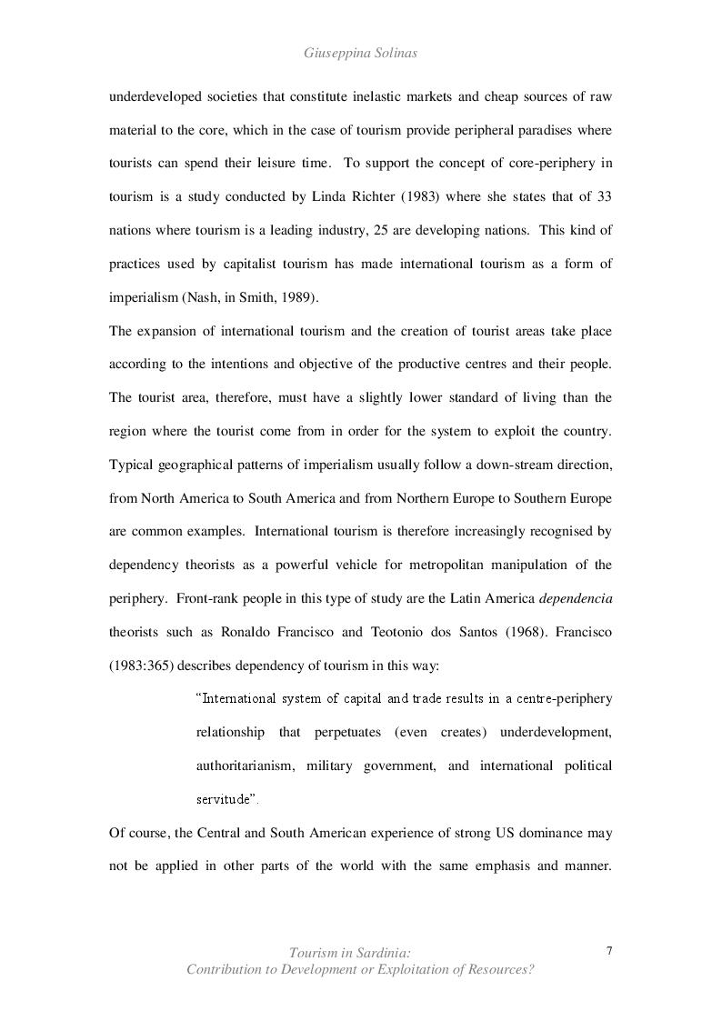 Estratto dalla tesi: Tourism in Sardinia: Contribution to Development or Exploitation of Resources?