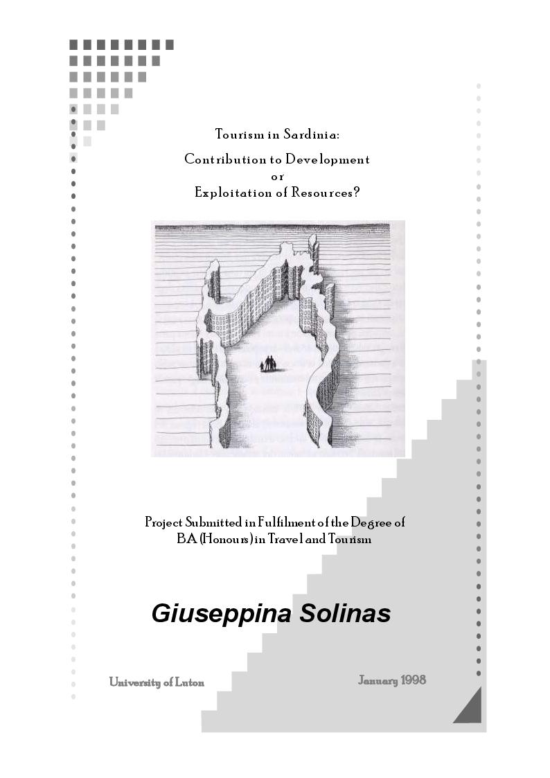 Anteprima della tesi: Tourism in Sardinia: Contribution to Development or Exploitation of Resources?, Pagina 1