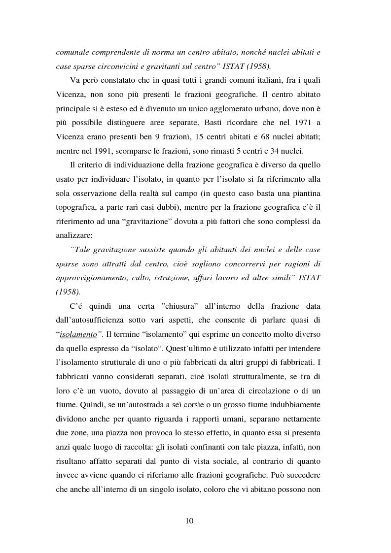 Anteprima della tesi: Proiezioni demografico-sociali per microaree: studio di fattibilità per il Comune di Vicenza, Pagina 10