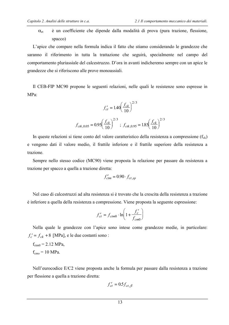 Anteprima della tesi: Analisi di elementi strutturali in calcestruzzo ad alta resistenza col modello Mcft e col modello di Cervenka, Pagina 10