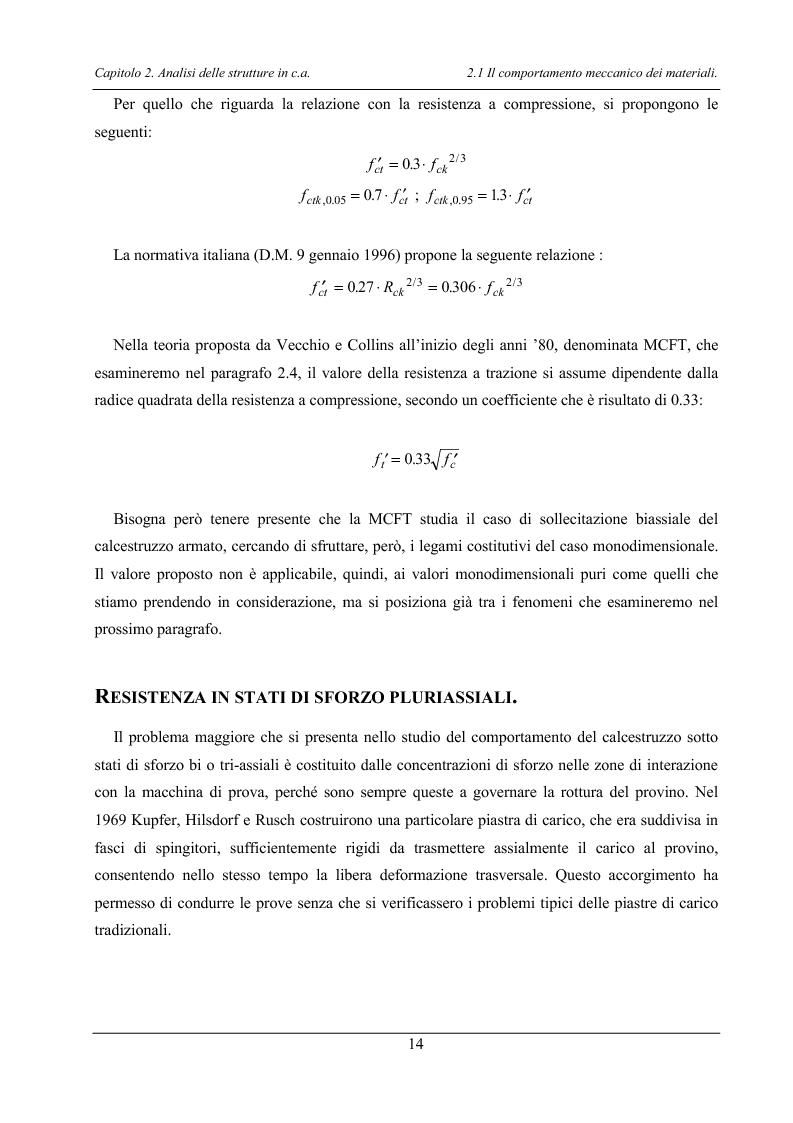 Anteprima della tesi: Analisi di elementi strutturali in calcestruzzo ad alta resistenza col modello Mcft e col modello di Cervenka, Pagina 11