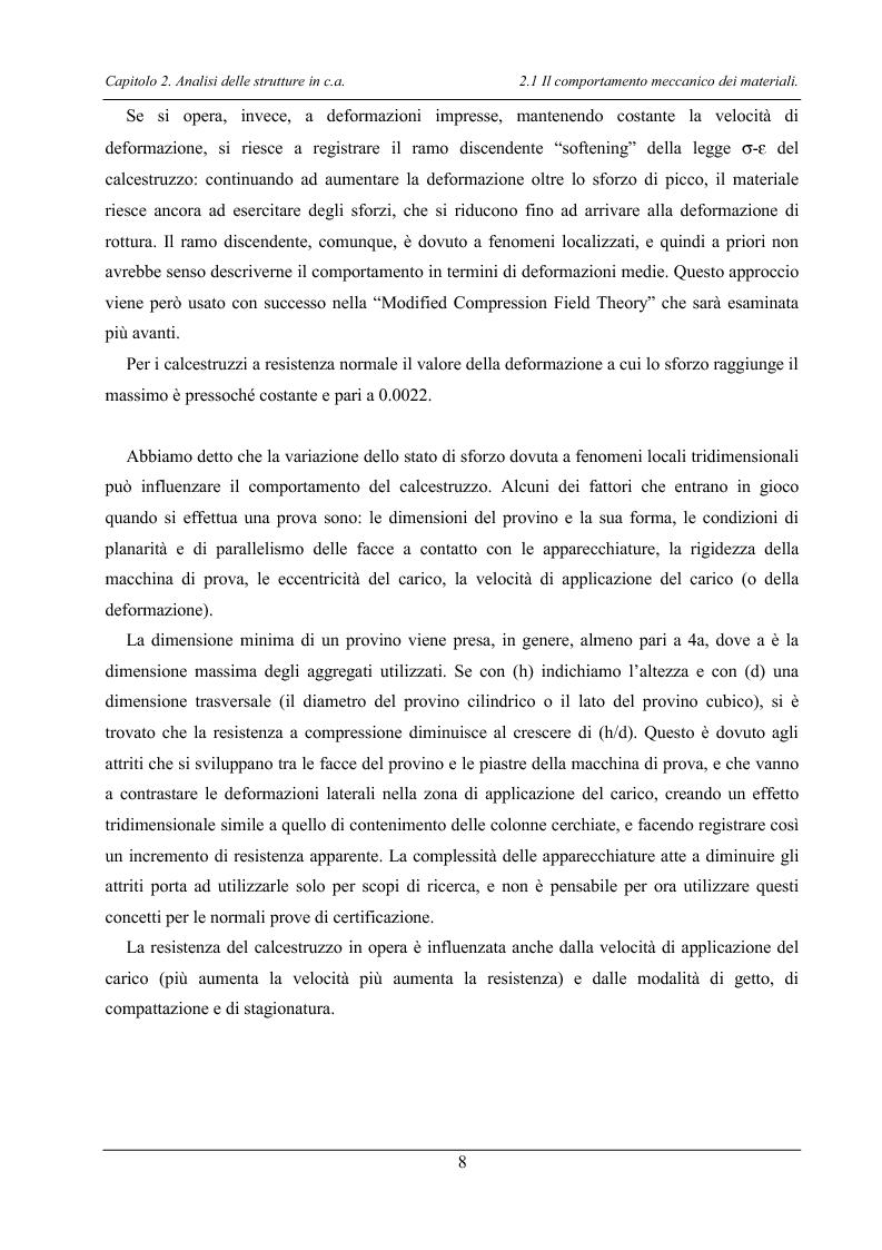 Anteprima della tesi: Analisi di elementi strutturali in calcestruzzo ad alta resistenza col modello Mcft e col modello di Cervenka, Pagina 5