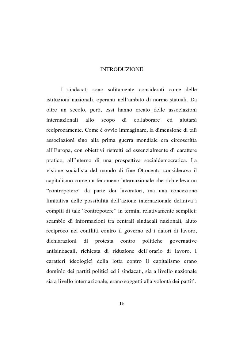Anteprima della tesi: Il sindacalismo europeo. Dalle premesse storiche alla Confederazione europea dei sindacati., Pagina 1